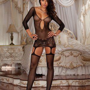 4031899865377 300x300 - Obleka s podvezami mrežasta dolg rokav DR0097 črna