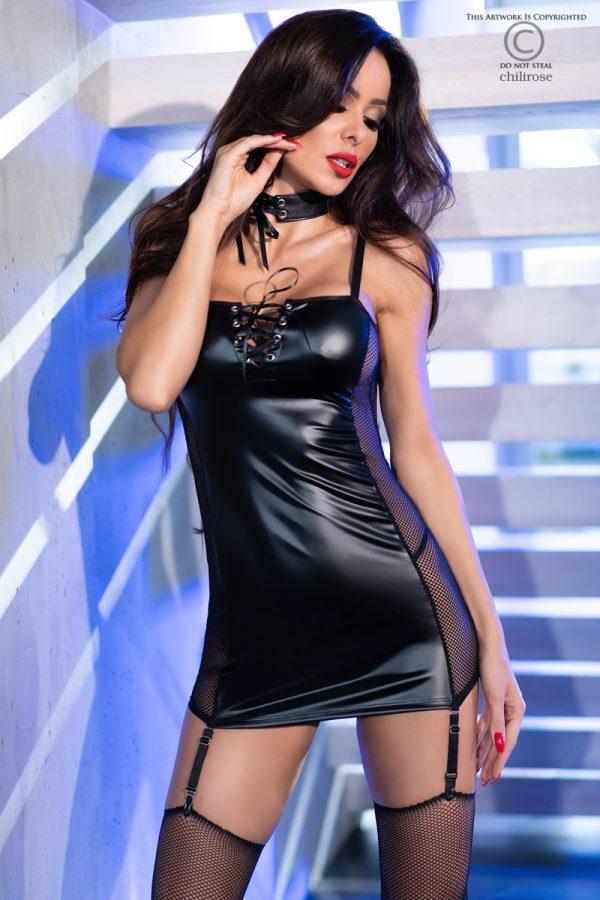 5902019032186 600x900 - Mini obleka wetlook strap CR4337 črna