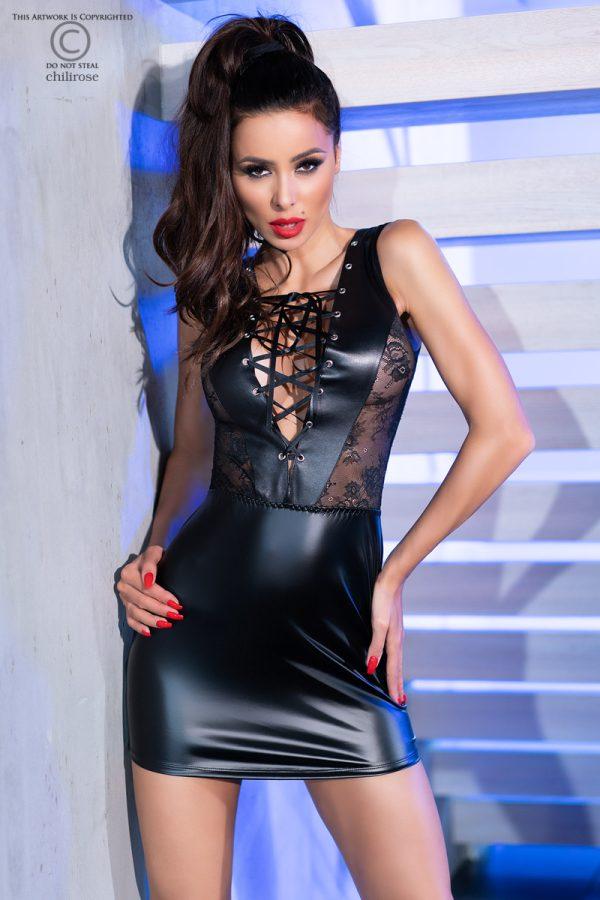 5902019032247 600x900 - Mini obleka wetlook CR4339 črna
