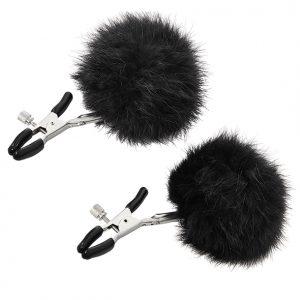 E28907 300x300 - Sportsheets - Sincerely Fur Nipple Clips črna